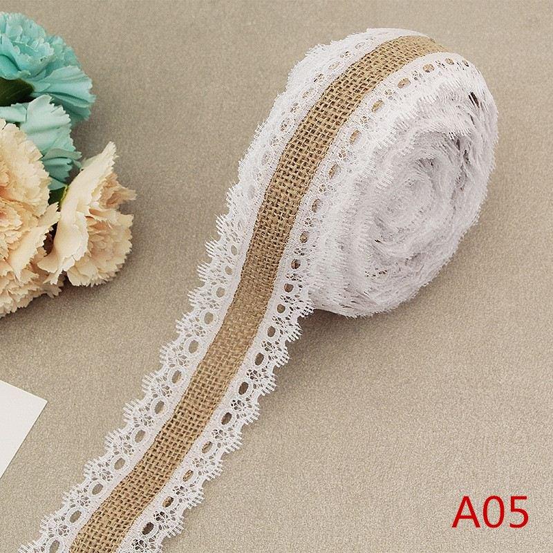 2Meter/Lot 25mm Natural Jute Burlap Hessian Lace Ribbon with White Lace Trim Edge Rustic Vintage Wedding Centerpieces Decor