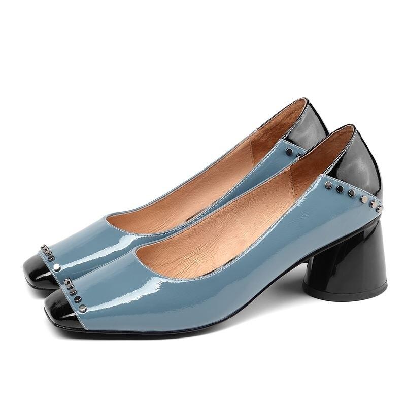 ALLBITEFO แฟชั่น rivets หนังแท้สแควร์ toe รองเท้าส้นสูงผู้หญิงรองเท้าส้นสูงรองเท้าส้นหนาสำนักงานสุภาพสตรีรองเท้า-ใน รองเท้าส้นสูงสตรี จาก รองเท้า บน   2