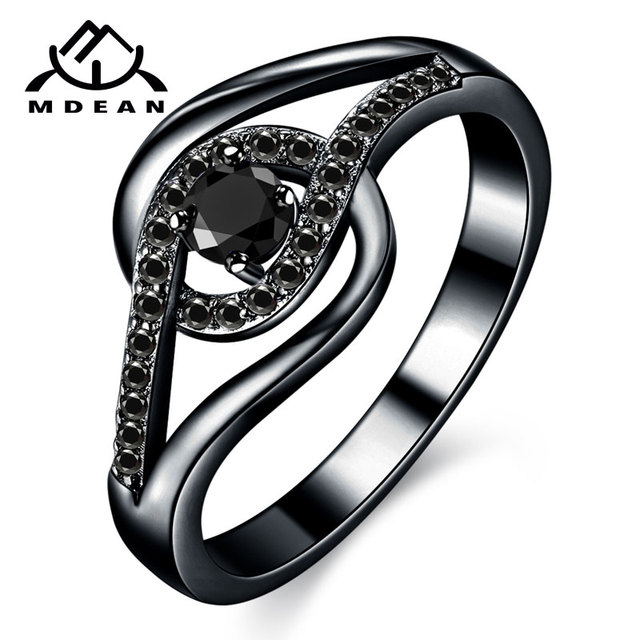 MDEAN Black Gold Color Wedding Rings Engagement Black AAA Zircon for Women Party Jewelry Bijoux Bague Size 6 7 8 9 10 H449