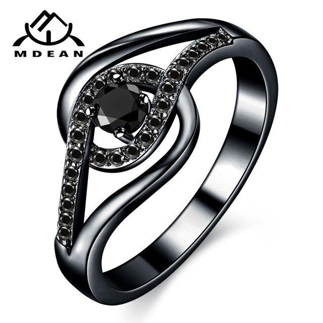 89105912cbd9 MDEAN oro negro de Color de la boda Anillos De Compromiso negro AAA Zircon  para las