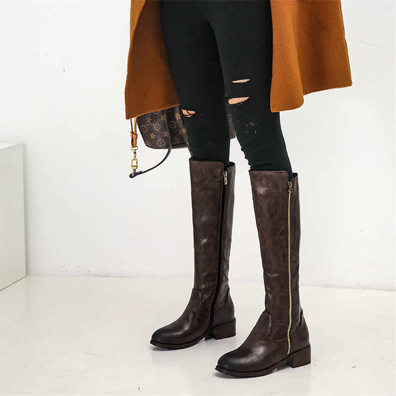 FEDONAS Klasik Yüksek Topuklu Kadın Diz Yüksek Çizmeler Mikrofiber Deri Uzun Çizmeler 2020 Kış sıcak binici çizmeleri Temel Ayakkabı Kadın