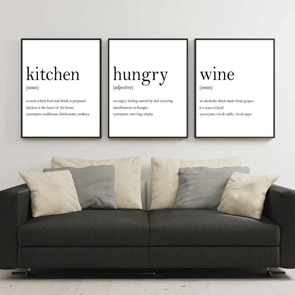 Kitchen Wall Art Prints Set Poster Hunger Angry Noun Wine Definition Canvas  Painting Set Of 3 Prints Quote Decoration Picture