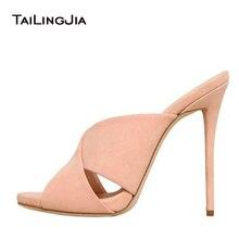 2016 New Fashion Slides Sandals High Heel Thin Concise Elegant Handmade