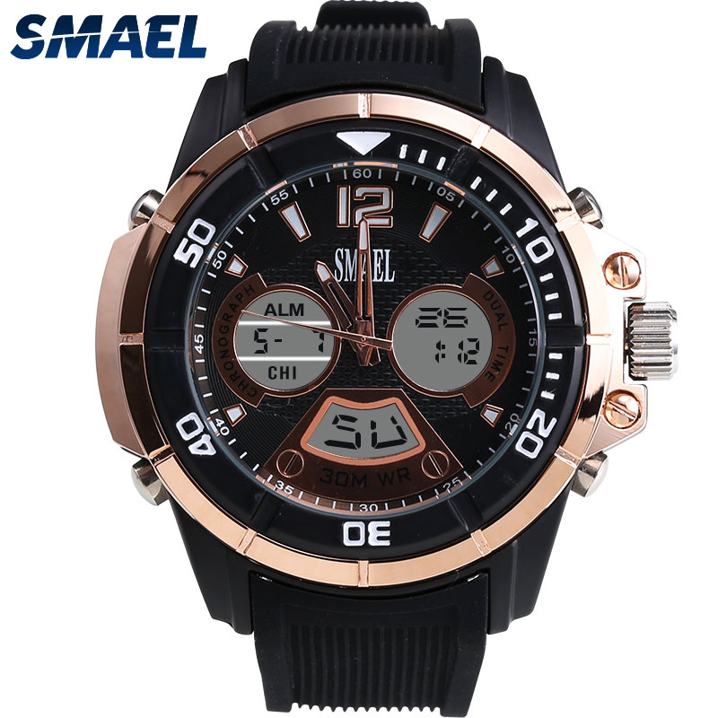 2017 Male Clock New Brand SMAEL Fashion Casual Watches 30 Meters Waterproof Rose Gold Style Time Clock LED Soprt Watch 1157 smael 1708b