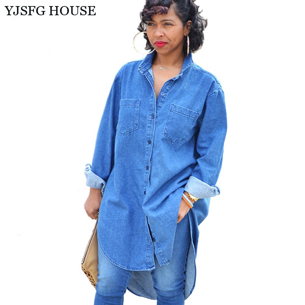 Yjsfg house long sleeve denim shirt women 2017 turn down for Women s collared button up shirts