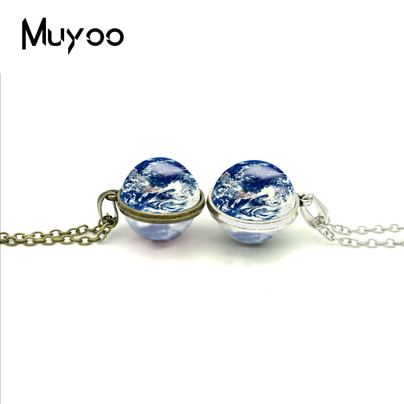 2018 New Solar System Double Sided Pendant Earth Necklace Jupiter Jewelry Silver Glass P ...