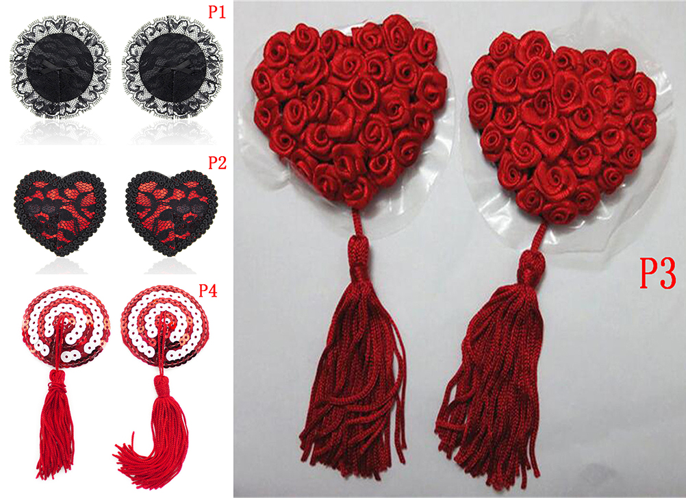Sex Product Chest Stickers Sexy Sequin Nipple Covers With Tassels Heart Round Lace Shape Nipple Stickers Pasties Wholesale