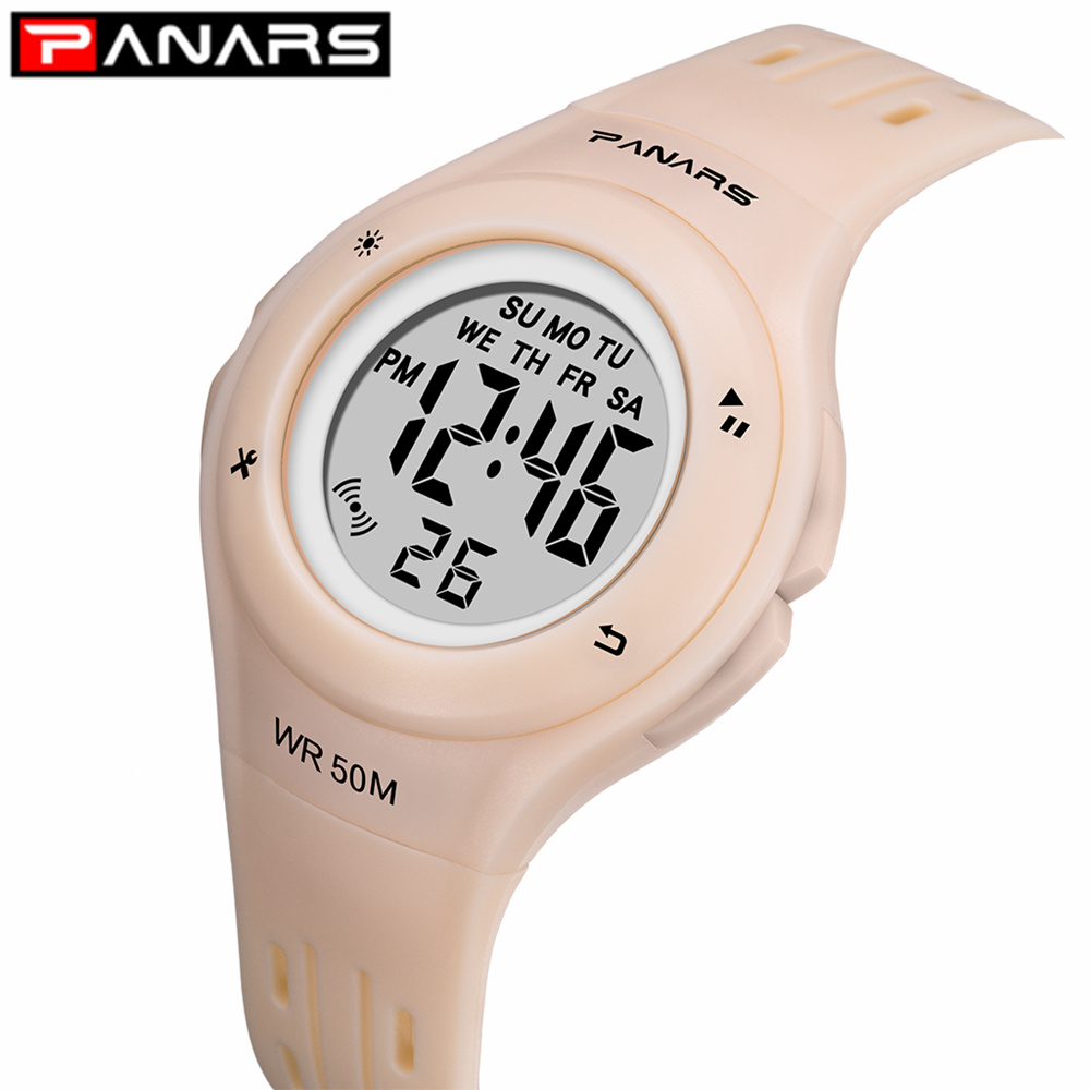 PANARS Colorful 7 Colors LED Children Watch WR50M Waterproof Kids Wristwatch Alarm Clock Multi-function Watches For Girls Boys