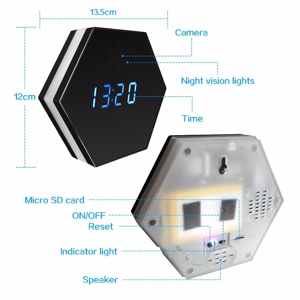 Table Clock Mini Camera Night Vision Electronic Clock Wireless WIFI ...