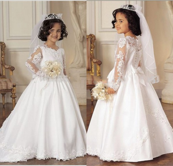 2019 White Lace Applique Long Sleeve   Flower     Girls     Dresses   with Train Communion   Dresses   for Kids