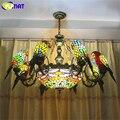 Фумат попугаи люстра-Стрекоза Европейский стиль художественный классический витражный подвесной светильник подвесные светильники