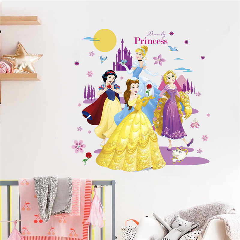 Princess Castle Moon Tree Flower Height Measure Wall Sticker For Kids Room Butterfly House Home Decoration