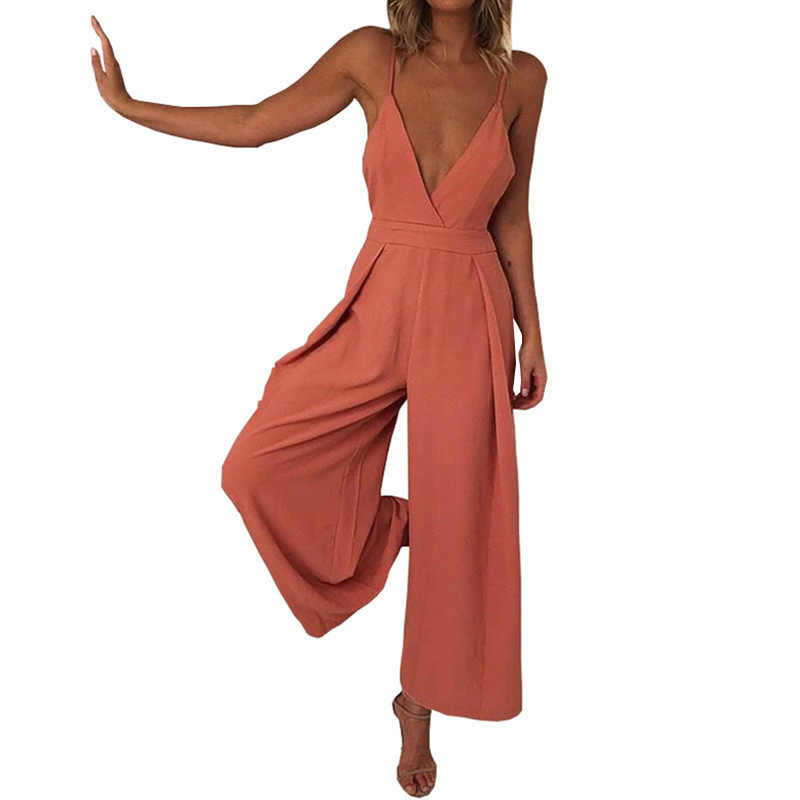 Sexy V Neck Backless Strap Jumpsuit Women Summer 2018 Casual Loose Long  Overalls for Women Orange ec928e09a9e6