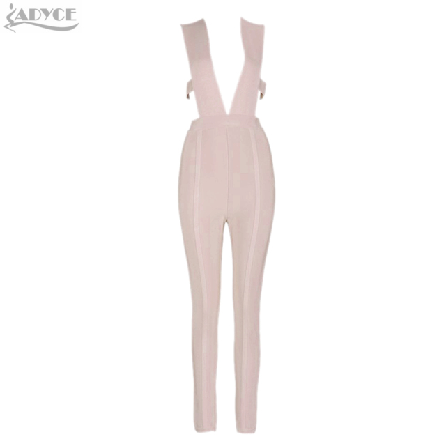 2016 new summer hottest  khaki capris knitted skinny party deep V neck plunge bodycon elegant rompers women jumpsuit wholesale