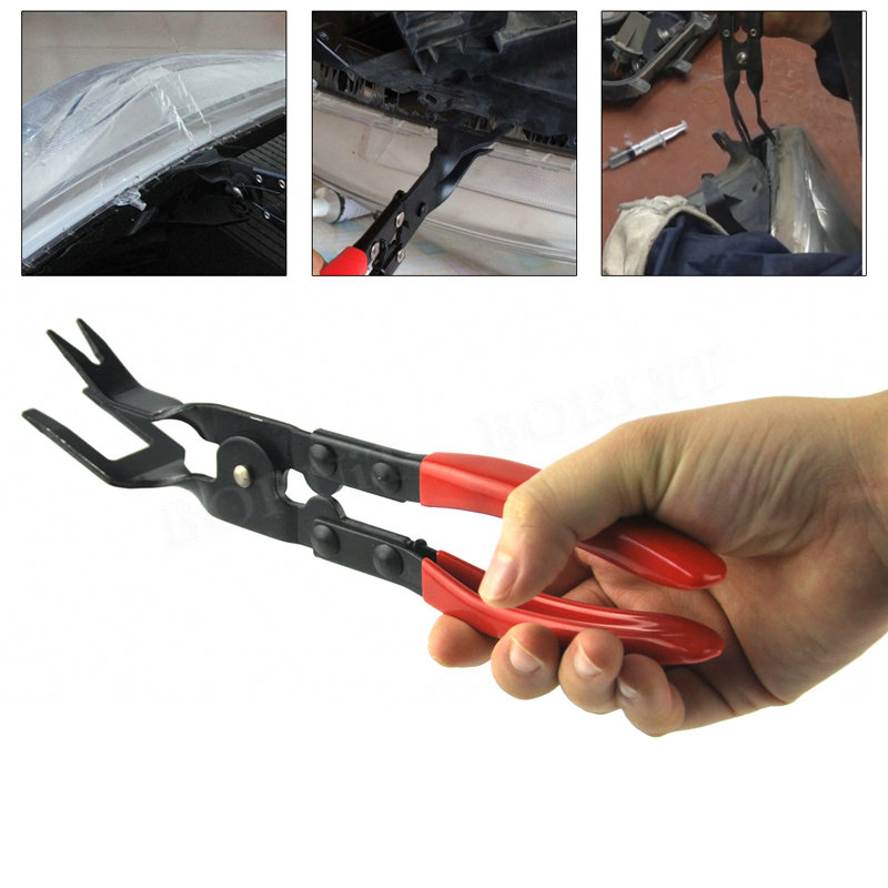 Car Door Panel Trim Clip Removal Tool Pliers Upholstery Remover Auto Car Fastener Trim Clip Removal Pliers Pry Bar Tool Set mesh panel striped trim top