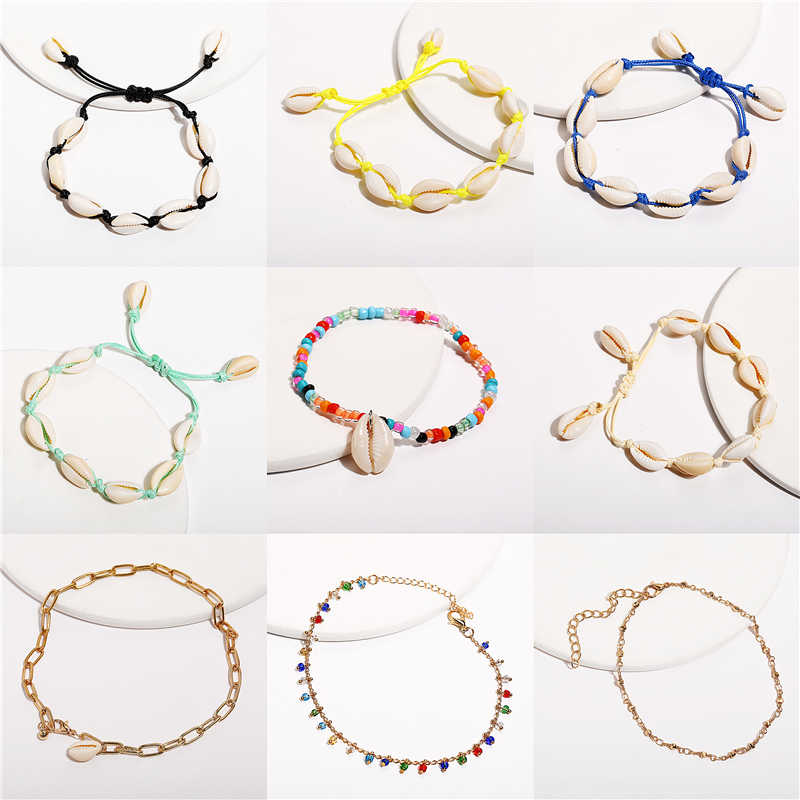 2019 New Sea Shell Anklets For Women Bohemian Colorful Vintage Handmade Anklet Bracelet on Leg Beach Ladies Ocean Jewelry