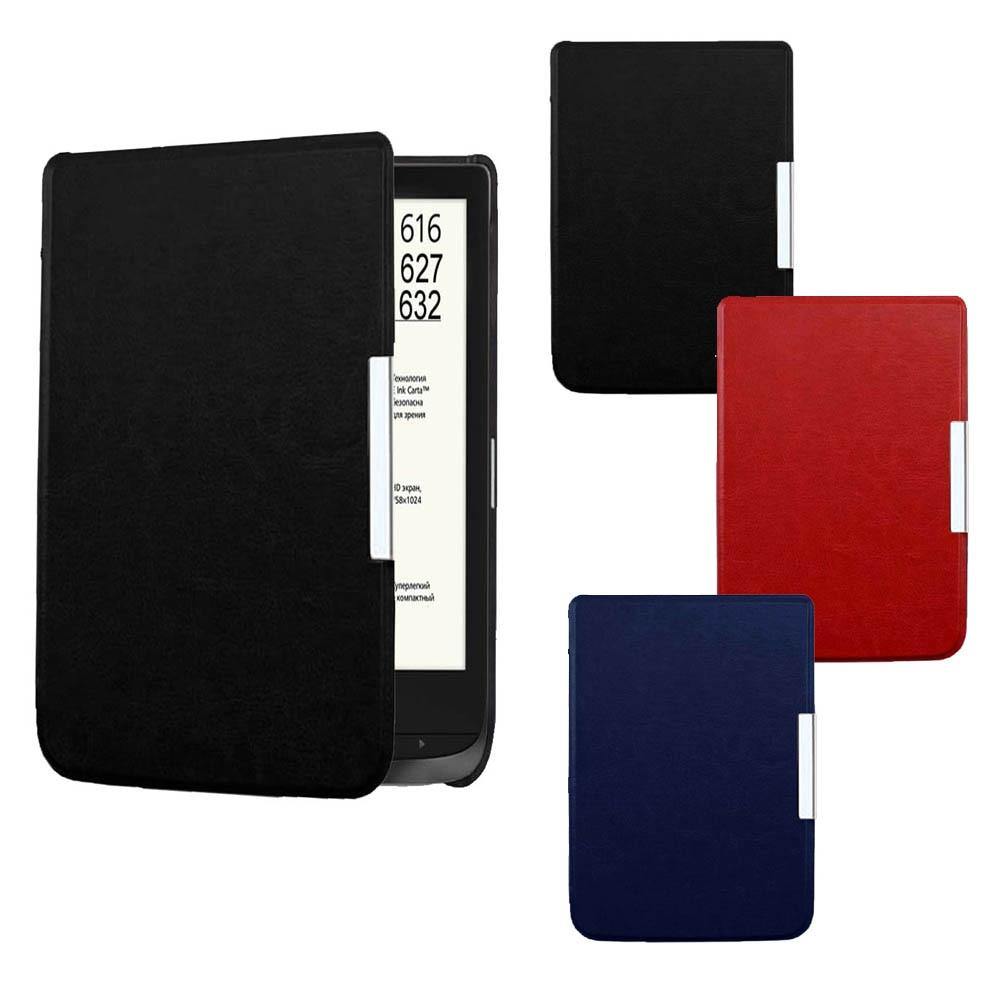 Funda de cuero de pu con tapa ultraslm para Pocketbook 616/627/632 Ereader funda de protección contra caídas imán auto sleep