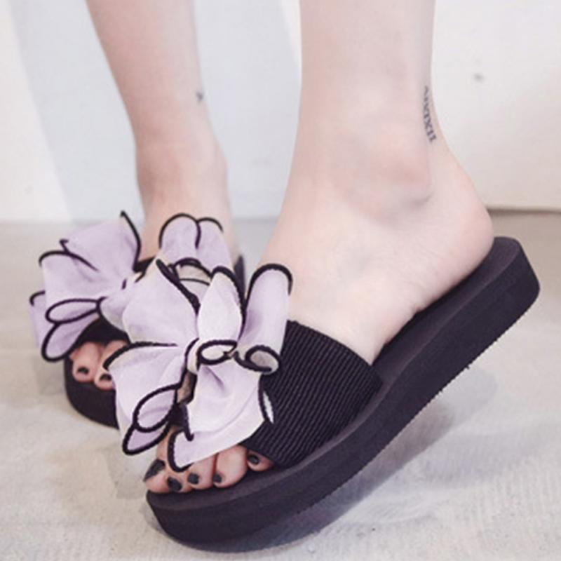 2018 Bow Thong Jelly Shoes Breathable Flip Flops Ladies Non-Slip Summer Women Flat Slippers Beach Sapatos Femininos #94 2018 bow knot summer shoes woman indoor outdoor flip flops women sandals ladies flat slippers zapatos mujer sapatos femininos