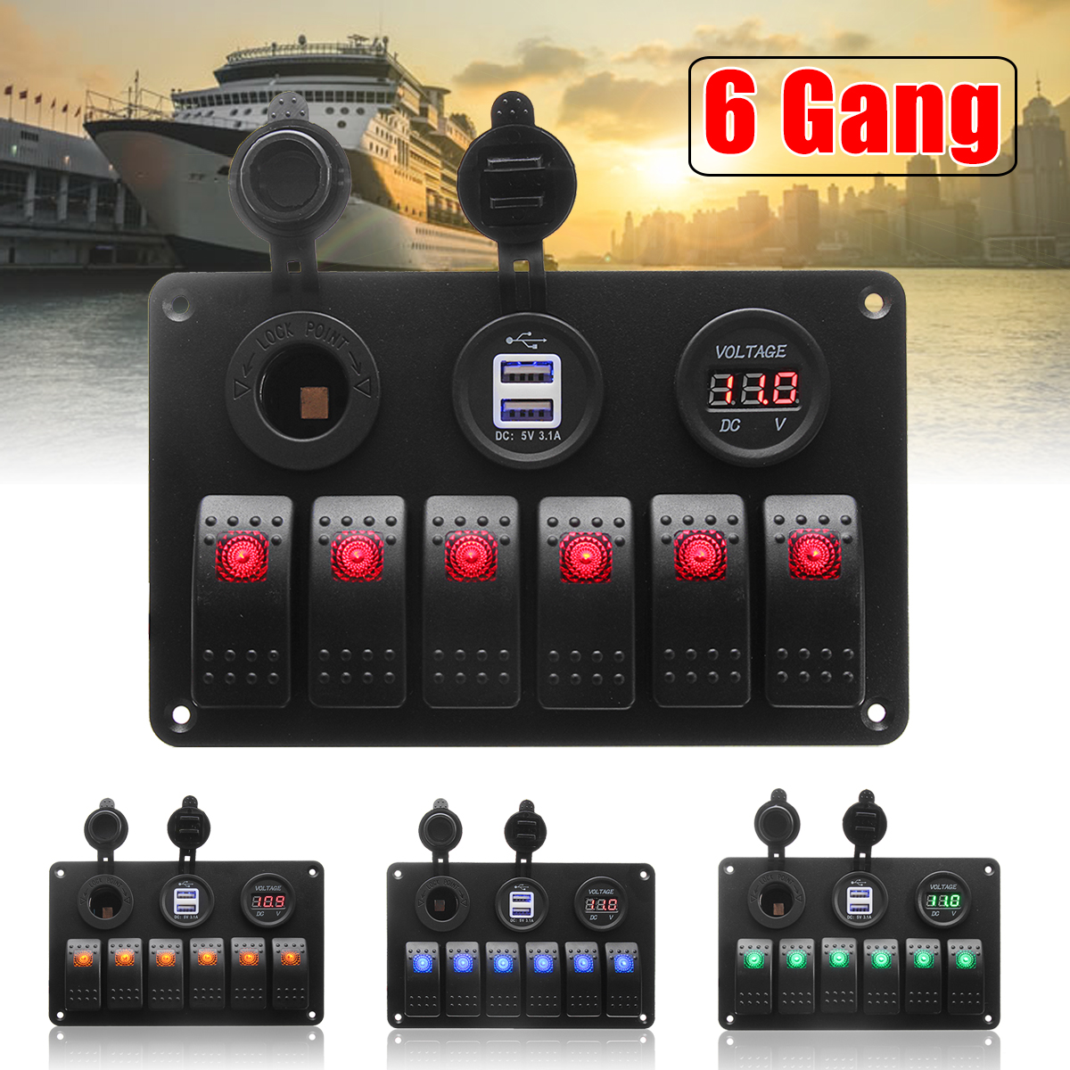 6 Gang 5 Pin 12V 24V LED Rocker Switch Panel Circuit Breaker Charger Dual USB Socket Cigaretter Plug Voltmeter Car Auto Charger