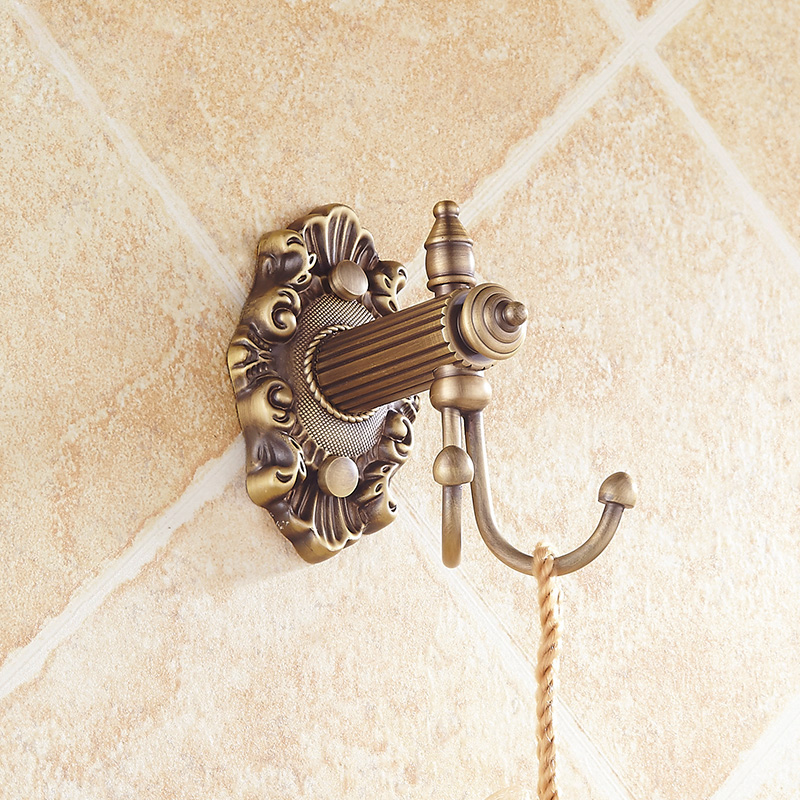 Free Shipping European Style Double Towel Holder Decorative Wall Hooks Antique Brass Robe Hook ...