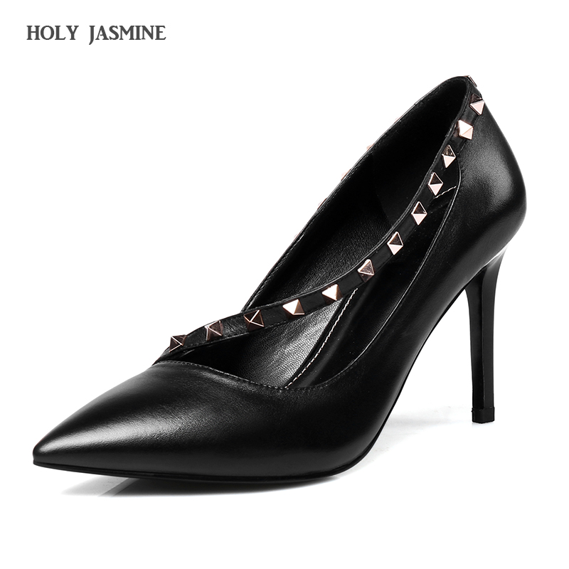 Hot sale New 2017 New Sexy Genuine Leather Pointed Toe High Heels Fashion Rivets Pumps Europe Style Party Dress Shoes Women 2016 genuine leather hot sale new arrive women pumps high heels pointed toe soft leather bowknot summer party shoes women