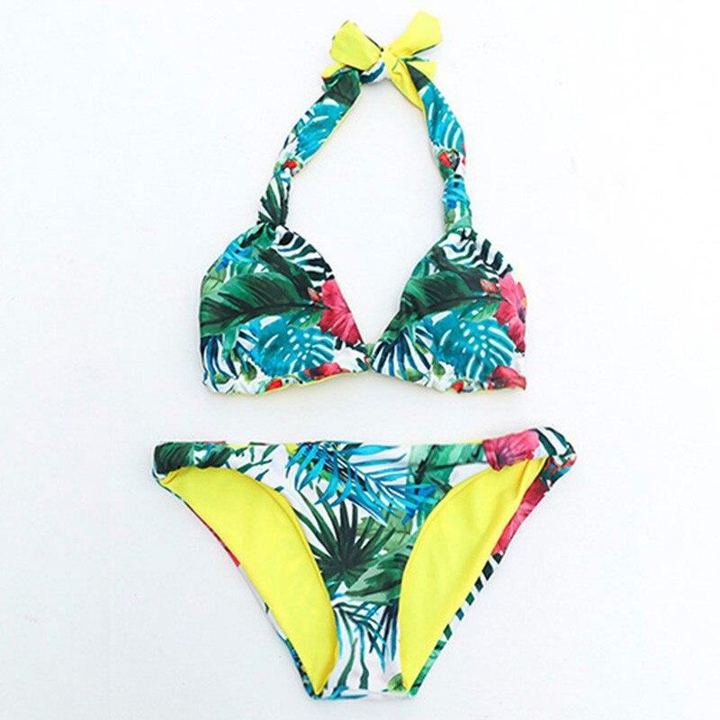 2017 New Plant Print Halter Bathing Suit Strapless Bra Push Up Sexy Bikini Set Women Swimwear Bandeau Swimsuit Beachwear Plavky 4