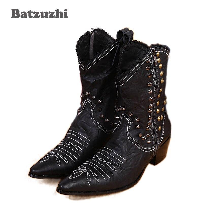 Φ_ΦBatzuzhi tamaño 38 46 botas de cuero hechas a mano hombre