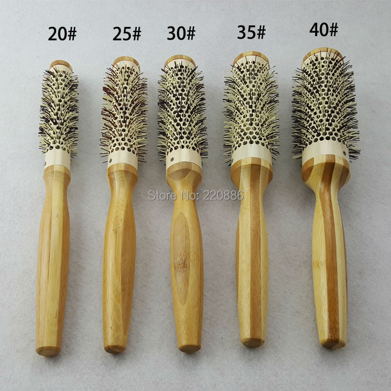 Bamboo hair brush with nylon bristles styling tools for Salon hair brushes