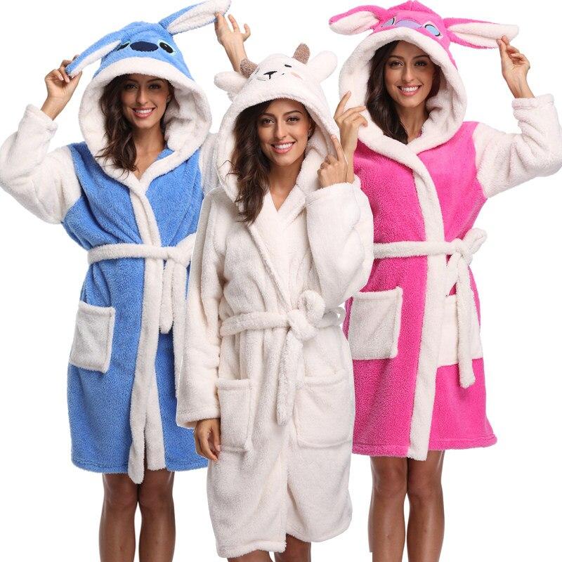 Winter Warm Women Animal Robes Pajamas 2018 Coral Fleece Long Kimono Robe  Woman Stitch Rabbit Plush cc71d1241