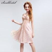 Новые персиковые милые кружевные мини платья для возвращения на родину vestido de festa с хрустальным жемчугом Бисероплетение Короткое платье для