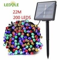 LEDGLE 22m 200LED Multi Color 8 Modes Solar Solar Christmas Lights Fairy String Lights For Outdoor