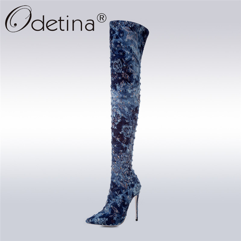 Odetina 2017 Fashion Women Sexy Extreme High Heel Thigh High Boots Blue Denim Over The Knee Boots Pointed Toe Winter Warm Shoes 2017 luxury sexy silk over the knee long satin boots women pointed toe high heel shoes women fashion runway thigh high boots
