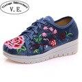 Bordado de la vendimia de Las Mujeres Pisos Lienzo Flor Lace Up Woman Plataformas Zapatos Sapato Feminino Ocasional Paño de Algodón Tamaño 34-41