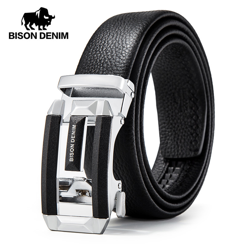 BISON DENIM Genuine Luxury Leather Men Belt Automatic Alloy Buckle Male Belt Top Quality Genuine Cowskin Leather Strap N71497