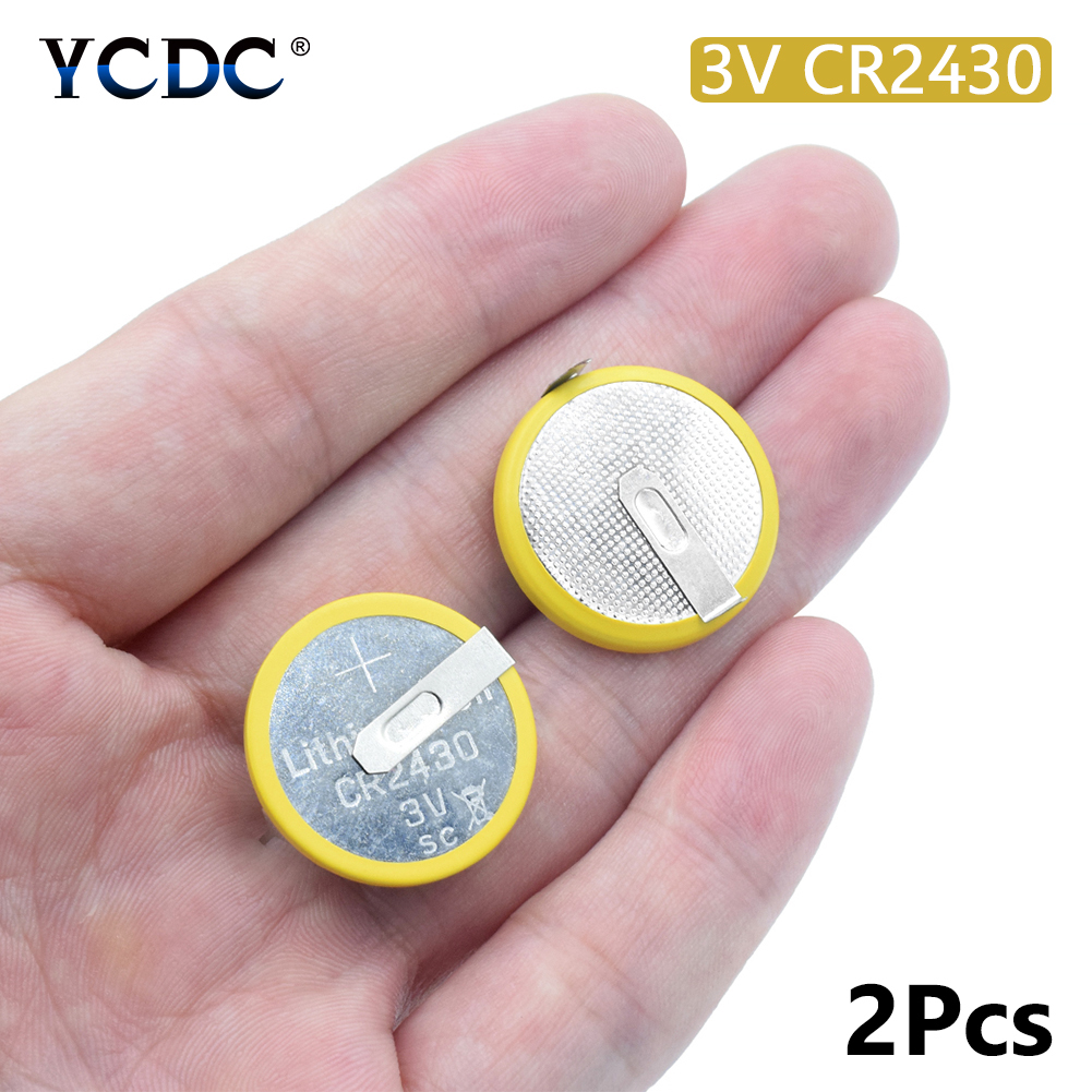 2Pcs/lot Battery CR2430 3V 2 Tabs Coin Cell For Main Board Toy Electronic Scale Button Battery Soldered 2 Pins