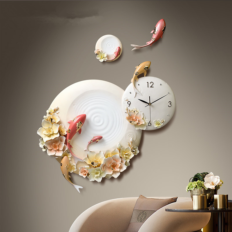 Modern Creative Personality Embossed Fish Flower European Home Wall Clock Livingroom Resin Clock Decoration Craft Art R1534 image