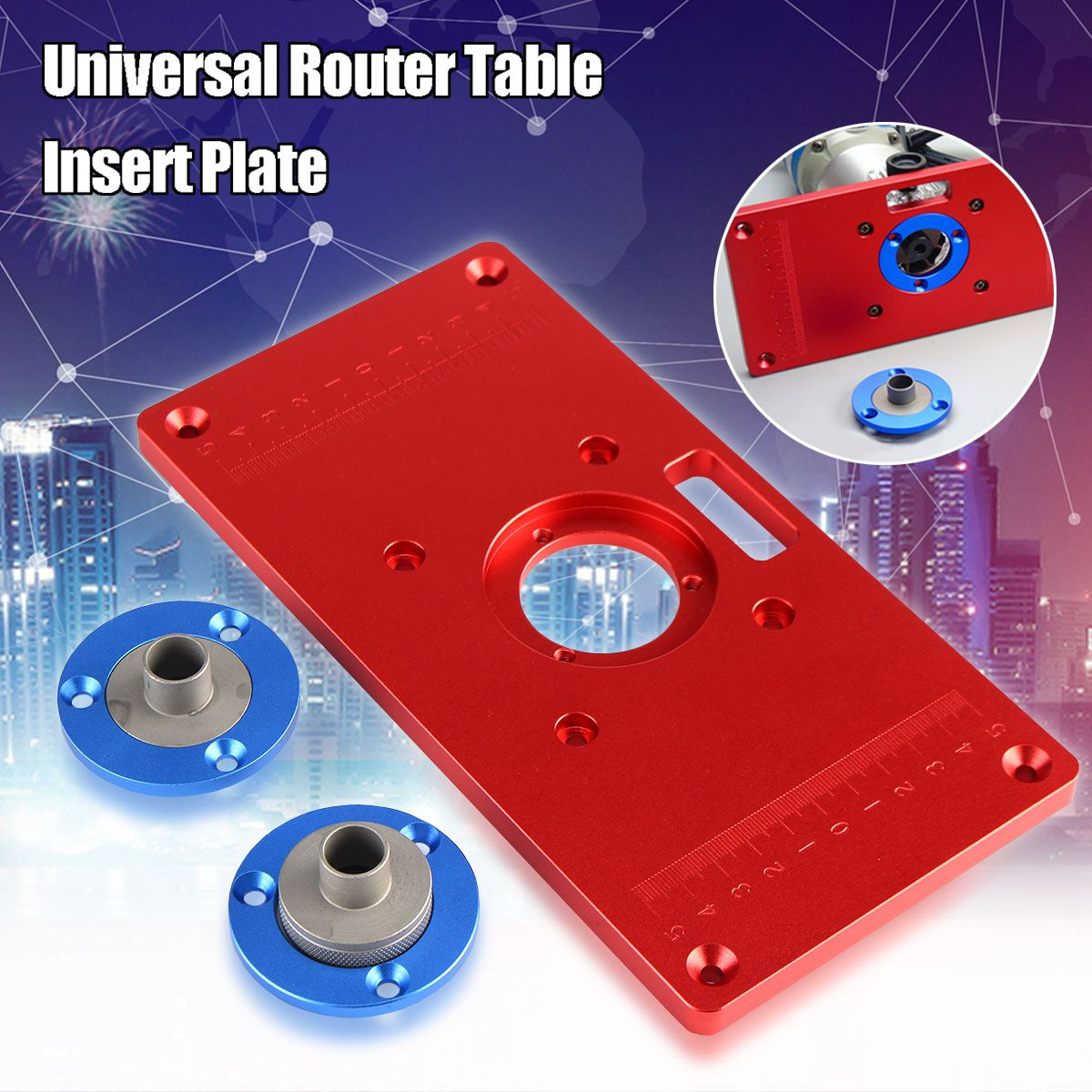Multifunctional aluminum router table plate w 4 router insert rings high quality universal router table insert plate for diy woodworking wood router trimmer models engraving machine greentooth Choice Image
