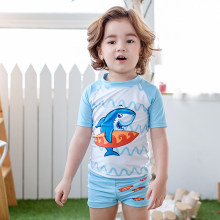 56706232cf Boy Summer Swimwear 3pcs/set Children Cartoon Shark Swimsuit Swimming  Shorts Printed Toddler Boy Swimming Cap Swimsuits