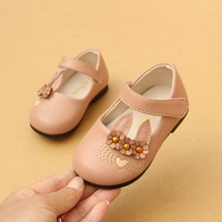 2018 Spring Cute Rabbit Baby Girls Soft Leather Shoes Infant Toddler Shoes White Pink Color EU