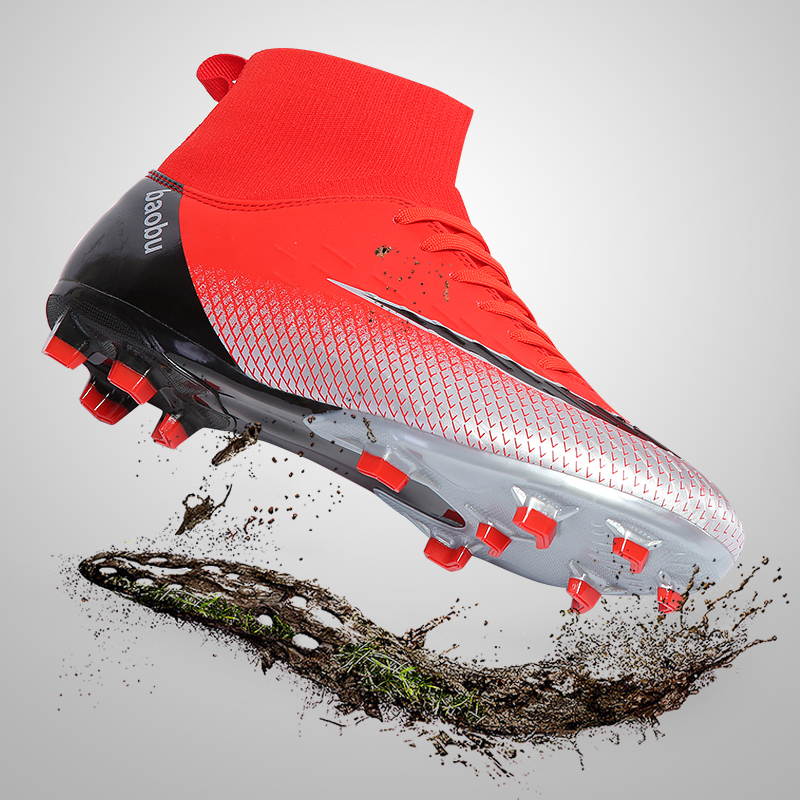 Men Football Sneaker Cleats Soccer-Shoes Futsal Ankle High-Tops Training Teenager Kids