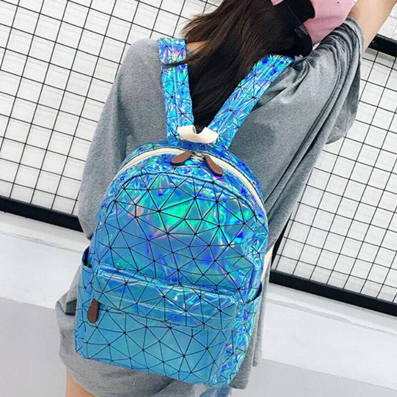 Large Travel Bags Laser Backpack Women Men Girls Bag PU Leather Holographic Backpack School Bags for Teenage Girls fashion bag