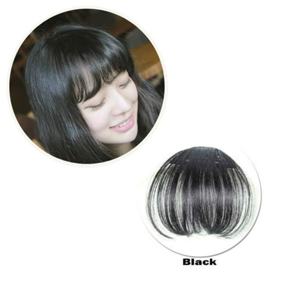 Hot Women Clip Bangs Hair Extension Fringe Hairpieces False Synthetic Hair Clips Front Neat Bang wyt77 3