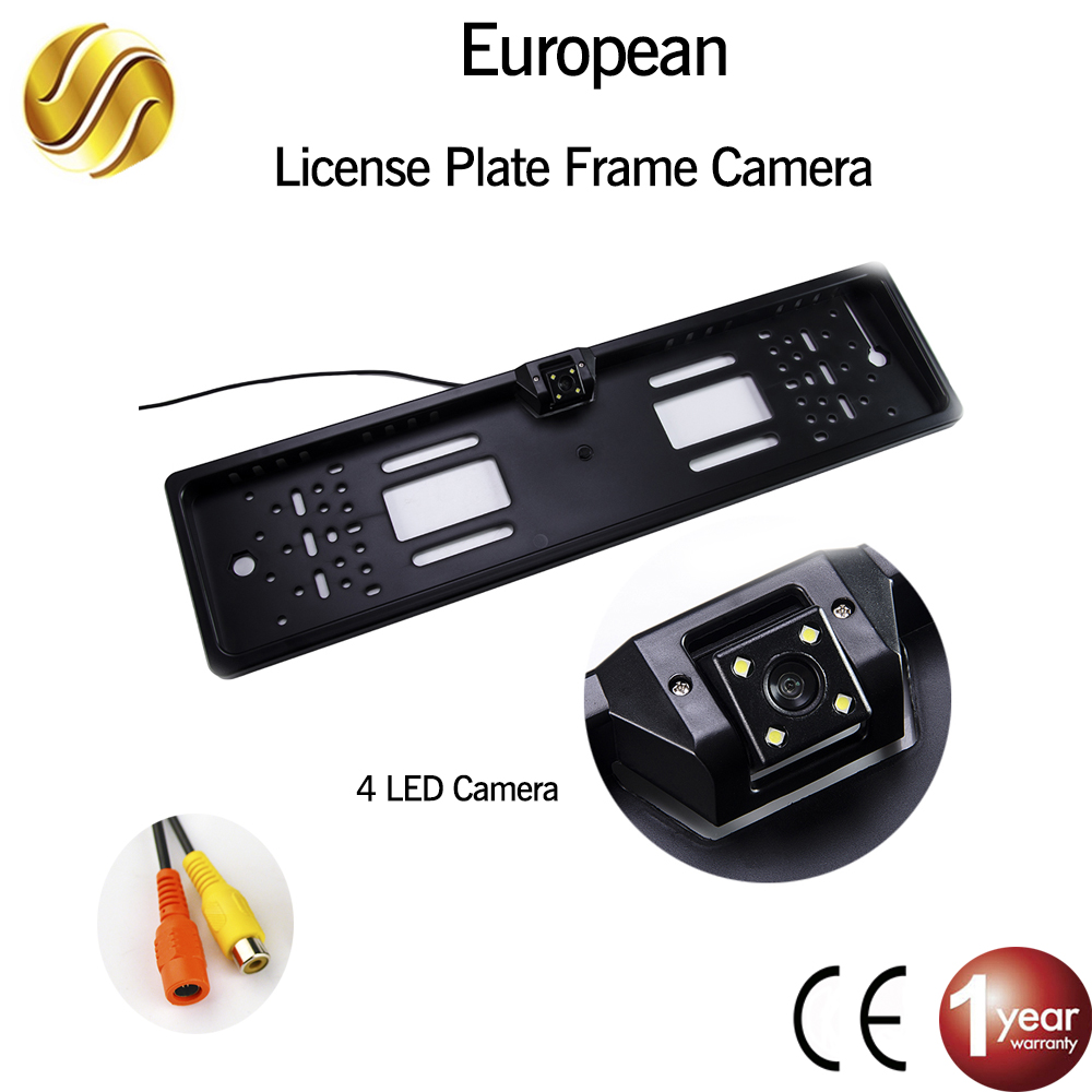 EU European License Plate Frame Car Rear View Camera Waterproof Night Vision Reverse Backup Camera 4 LED light