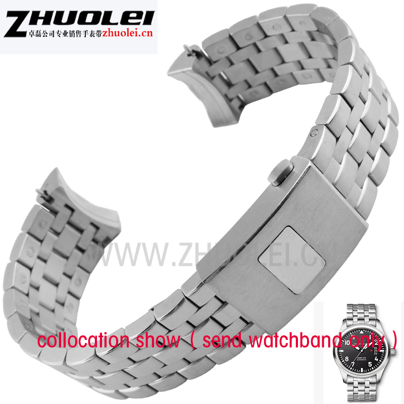 High quality stainless steel watchband for mens iw377704  watches Bracelet  20mm 21mm strap With Original Buckle for mark 16 high quality lowest price wholesale kz 19 pneumatic combination steel metal strapping packing machine for 19mm steel strap tape