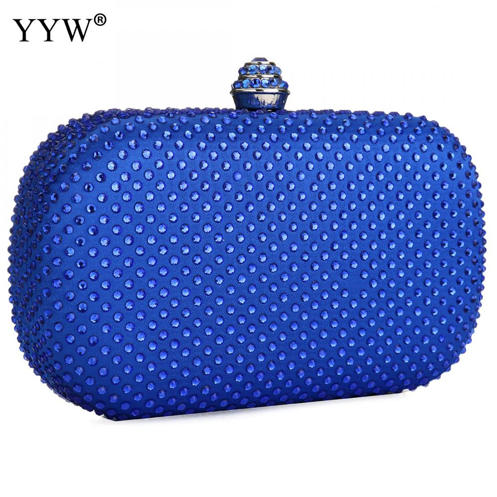 Blauw Vrouwen Clutch Bag Bruiloft Strass Portemonnee Bolsa Feminina Elegante Avond Party Banquet Tassen Koppelingen Mini Vintage Handtas