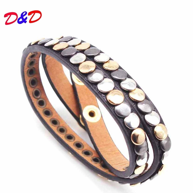 D&D Fashion Multiple Layers Charm Bracelet For Women Vintage Leather Bracelets & Bangle Femme Party Jewelry Wholesale