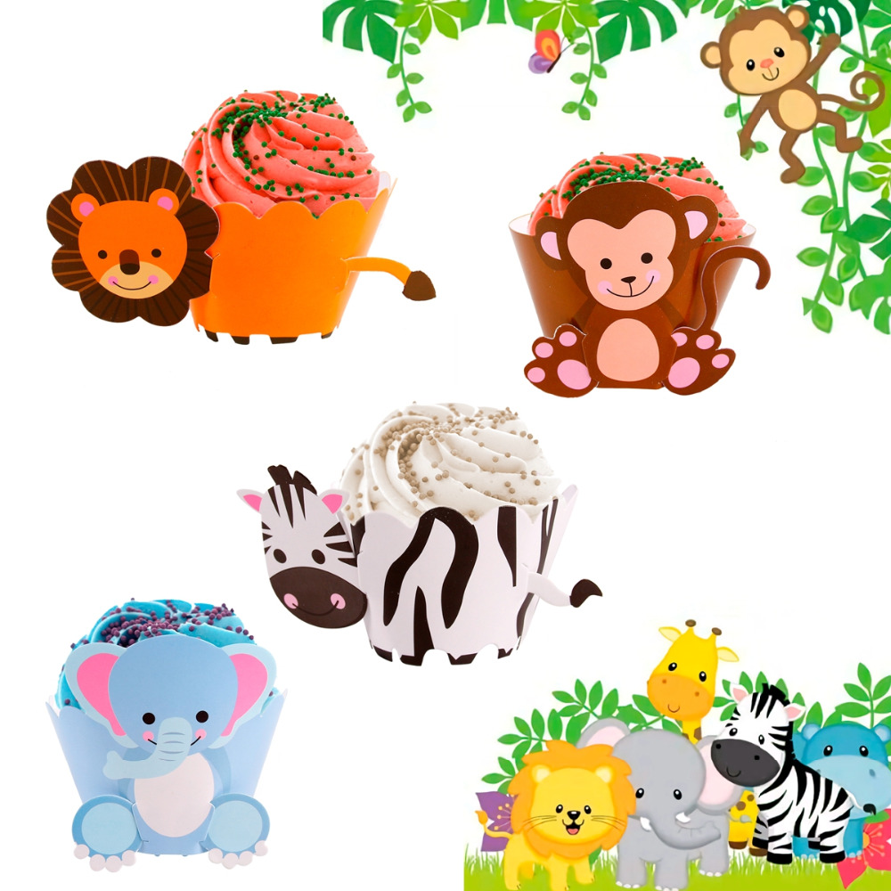 FENGRISE Cartoon Cupcake Wrappers Set Birthday Party Decoration Kids Party Favors Gifts Lion Monkey Animals Paper Cake Decor in Cake Decorating Supplies from Home Garden