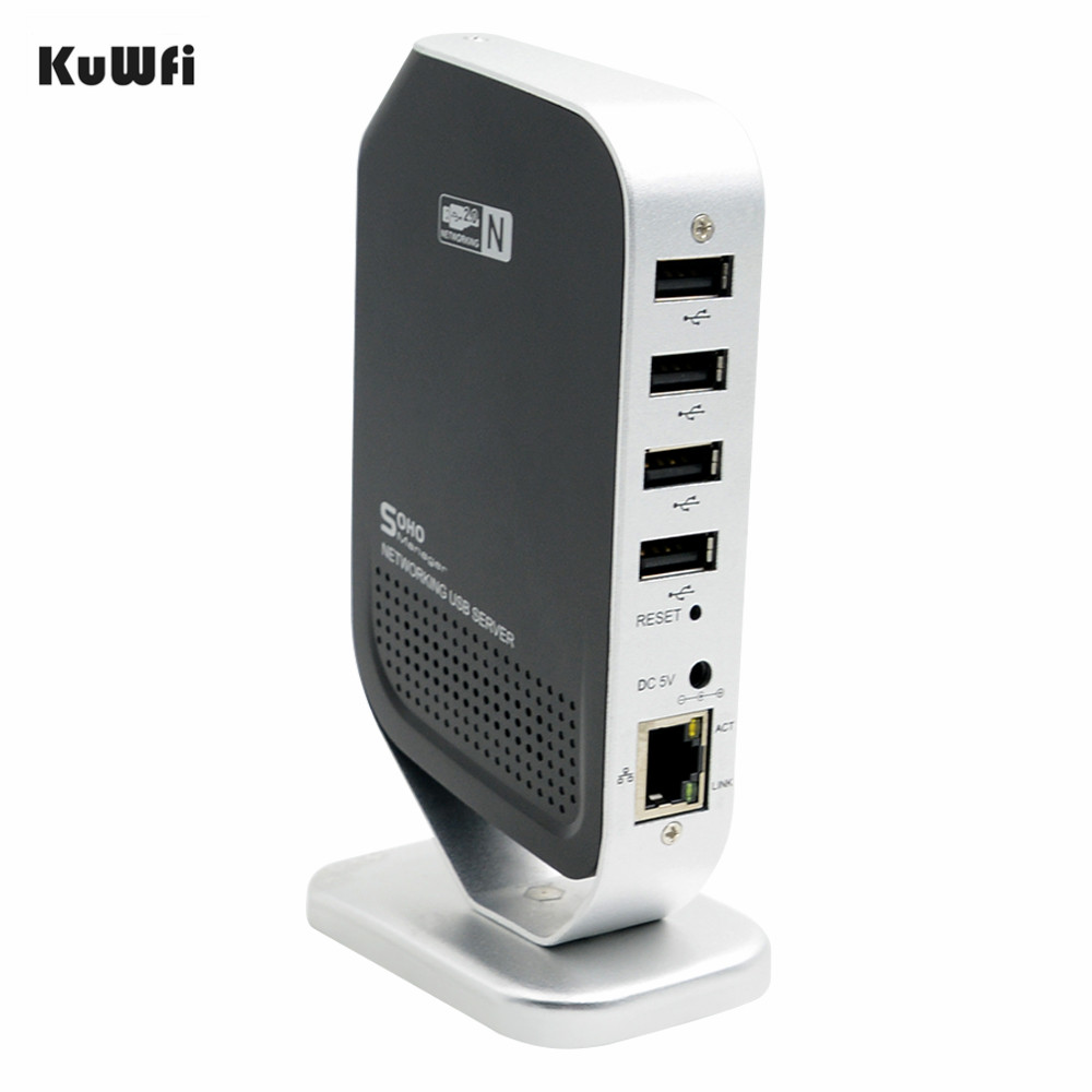 4 Ports USB2.0 Print Server 100Mbps Access Points Network Fax USB Print Sharing Server Stable For Windows 2000/XP/Vista/7 PC