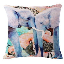 Loving Elephant Animal Pillow Case 18×18 inches Decorative Pillows Covers