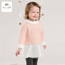 DB4051 дэйв белла осень девочка сладкий розовое платье дети платье